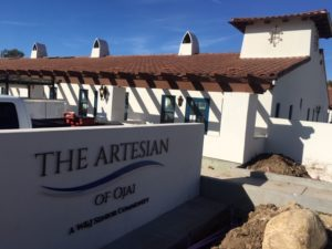 The Artesian of Ojai's monument sign at the entrance